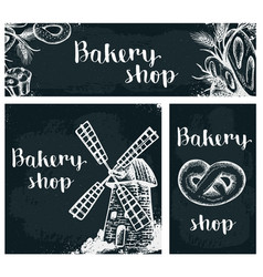 Bakery products on the chalkboard vector