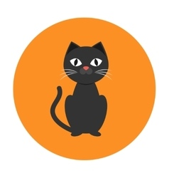 Black cat icon flat vector image vector image