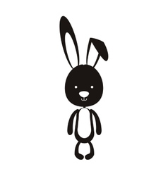 Black silhouette of skinny rabbit vector