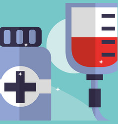 blood bag and bottle medicine medical equipment vector image