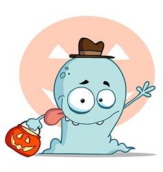 Blue Halloween Ghost Waving vector