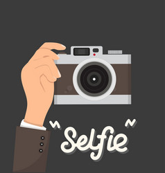 businessman hands holding camera selfie vector image