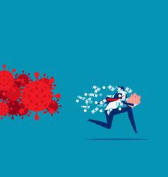 businessman holding piggy bank running away vector image