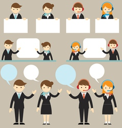 Businessman male and female show presentation vector