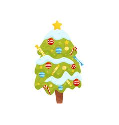 cartoon flat icon of christmas tree vector image