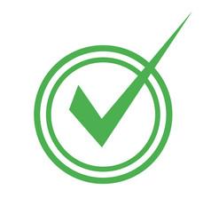 checkmark icon put a green symbol on white vector image
