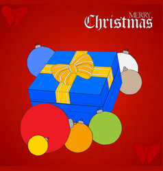 christmas gift box and hand drawn baubles on vector image