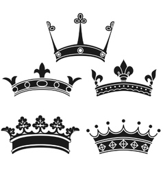 collection vintage crowns vector image