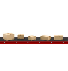 Conveyor belt with cardboard boxes at factory vector