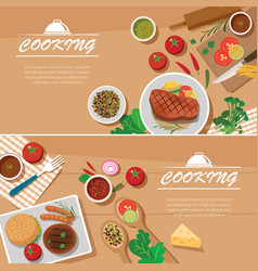 cooking banner flat design template vector image vector image