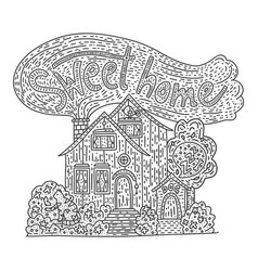 country doodle detailed cottage vector image