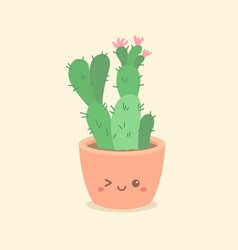 Cute cactus succulent cartoon vector