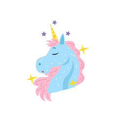 cute dreaming unicorn character cartoon vector image