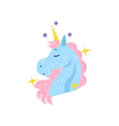 Cute dreaming unicorn character cartoon vector