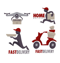 Delivery service isolated icons food and post vector