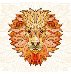 Detailed colored Lion in aztec style vector image