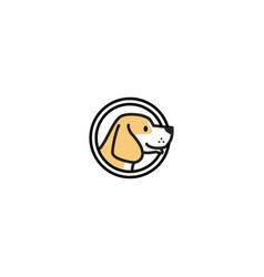 dog head inside a circle logo icon badges vector image