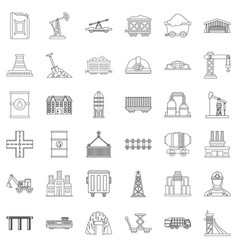 factory icons set outline style vector image