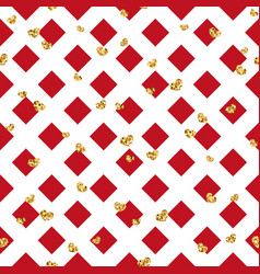 Gold heart seamless pattern red-white geometric vector