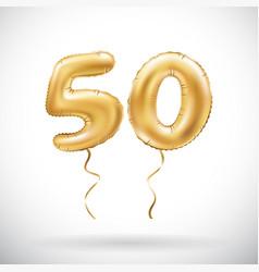 Golden number 50 fifty metallic balloon party vector