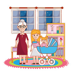 Grandmother daughter and baby design vector