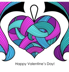 Greeting card with blue heart vector image