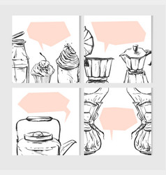 Hand drawn abstract textured food card vector