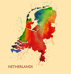Hand drawn watercolor map of netherlands vector