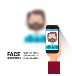 Hand holding smart phone scanning man face modern vector