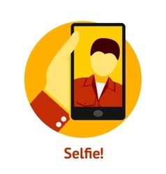 Hand with phone making selfie vector image