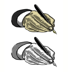 hand writing with fountain pen in engraved style vector image
