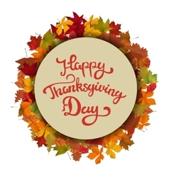 happy thanksgiving hand drawn lettering on light vector image