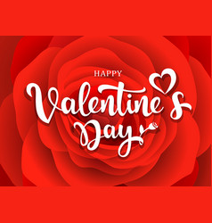 happy valentines day message design red rose vector image