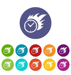 Hot clock flat icon vector