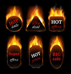 hot special offers promo banners with fire flame vector image