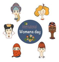 international womens day template cartoon vector image