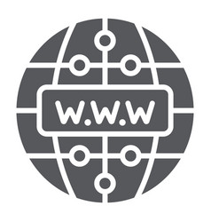 Internet glyph icon website and globe network vector