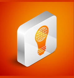 Isometric light bulb with inside world globe icon vector