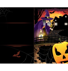 Jack olantern and old witch vector