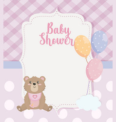 label teddy bear with balloons decoration vector image