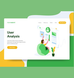 Landing page template user analysis concept vector