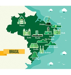 Landmark Brazil map silhouette icon vector