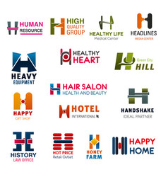 letter h company brand names and business icons vector image