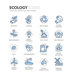 Line Ecology Icons vector image