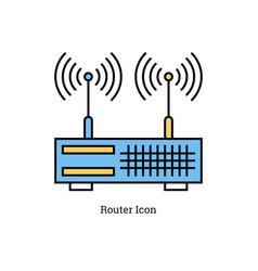 linear isolated icon - dual antenna router vector image