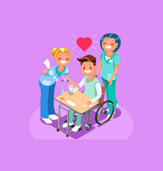 Man in wheel chair isometric people vector