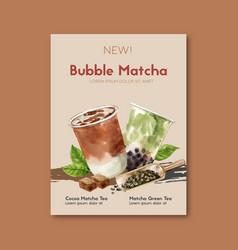 Matcha and brown sugar bubble milk tea set poster vector