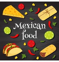 Mexican food on a chalkboard vector
