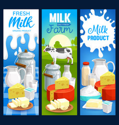 Milk food products dairy farm banners vector
