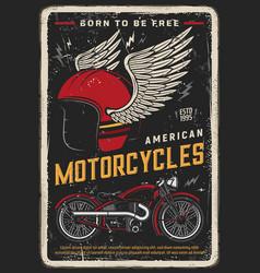 motorcycle poster vintage motorbike biker racing vector image